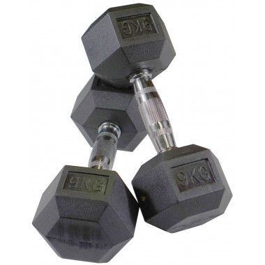 9kg Rubber Hex Dumbbells (Pair)