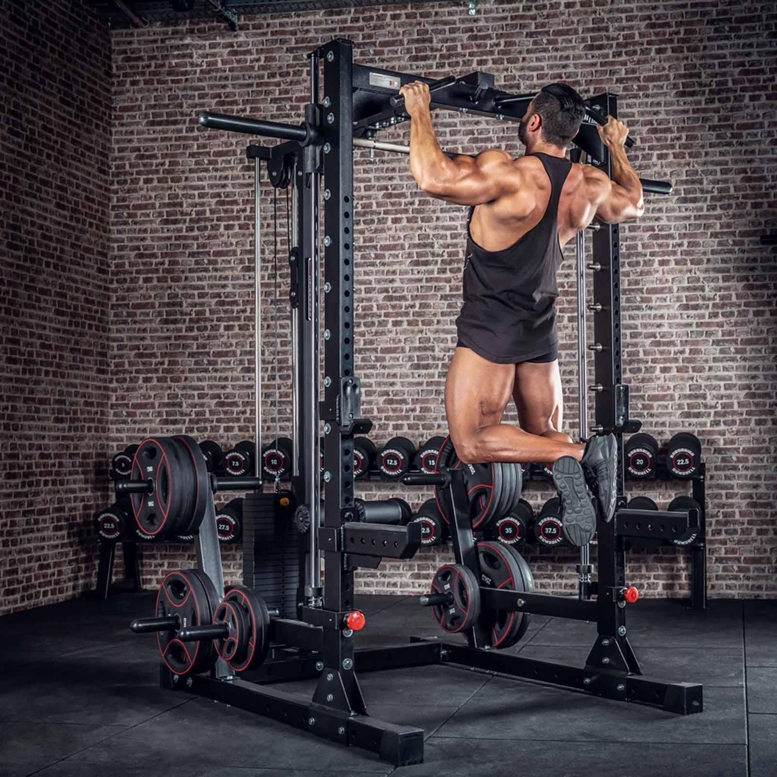Smith machine half rack