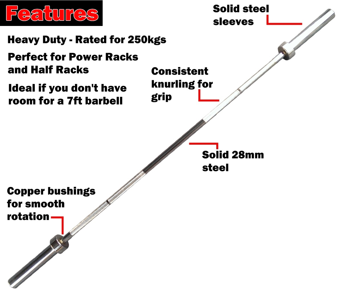 185cm olympic barbell