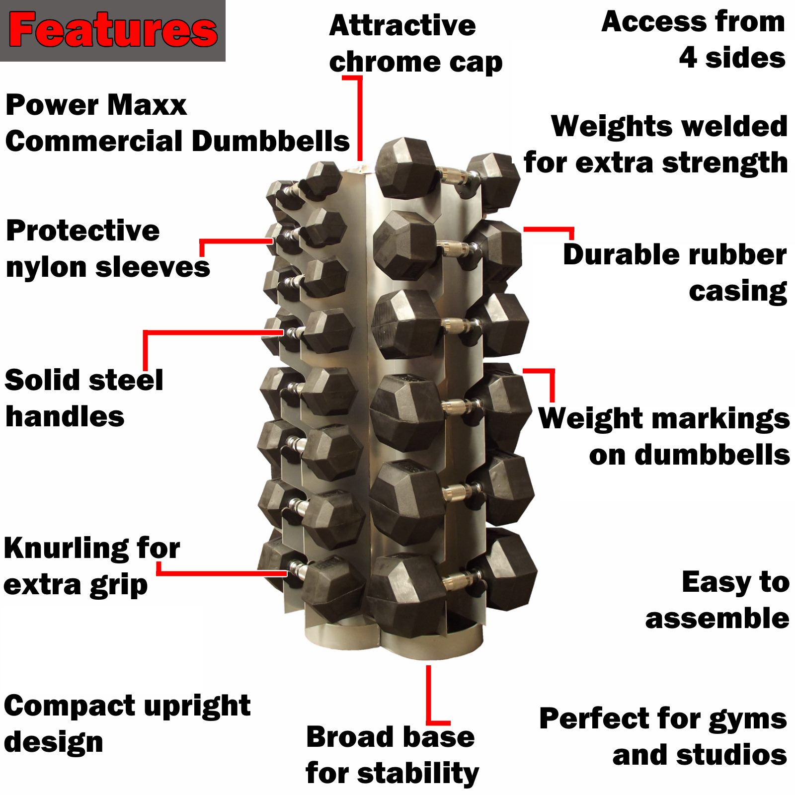 1 to 20kg rubber hex dumbbell set