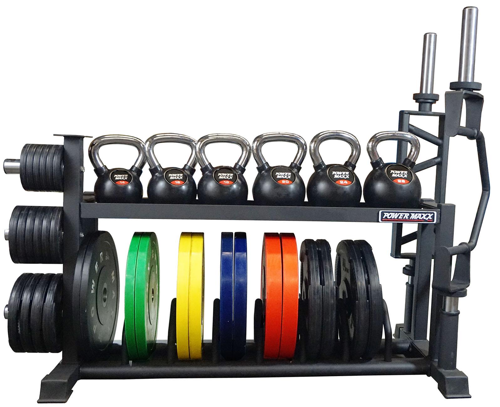 bumper plate kettlebell rack