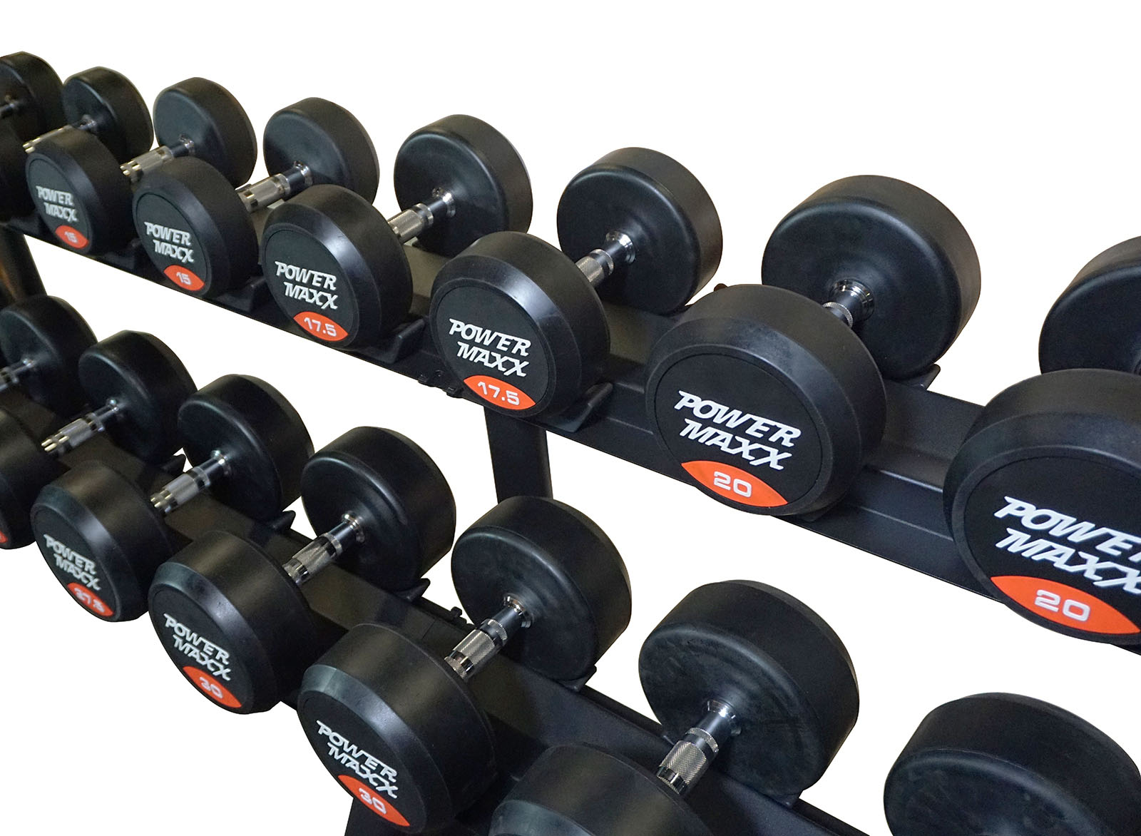 10 pair round rubber dumbbell set