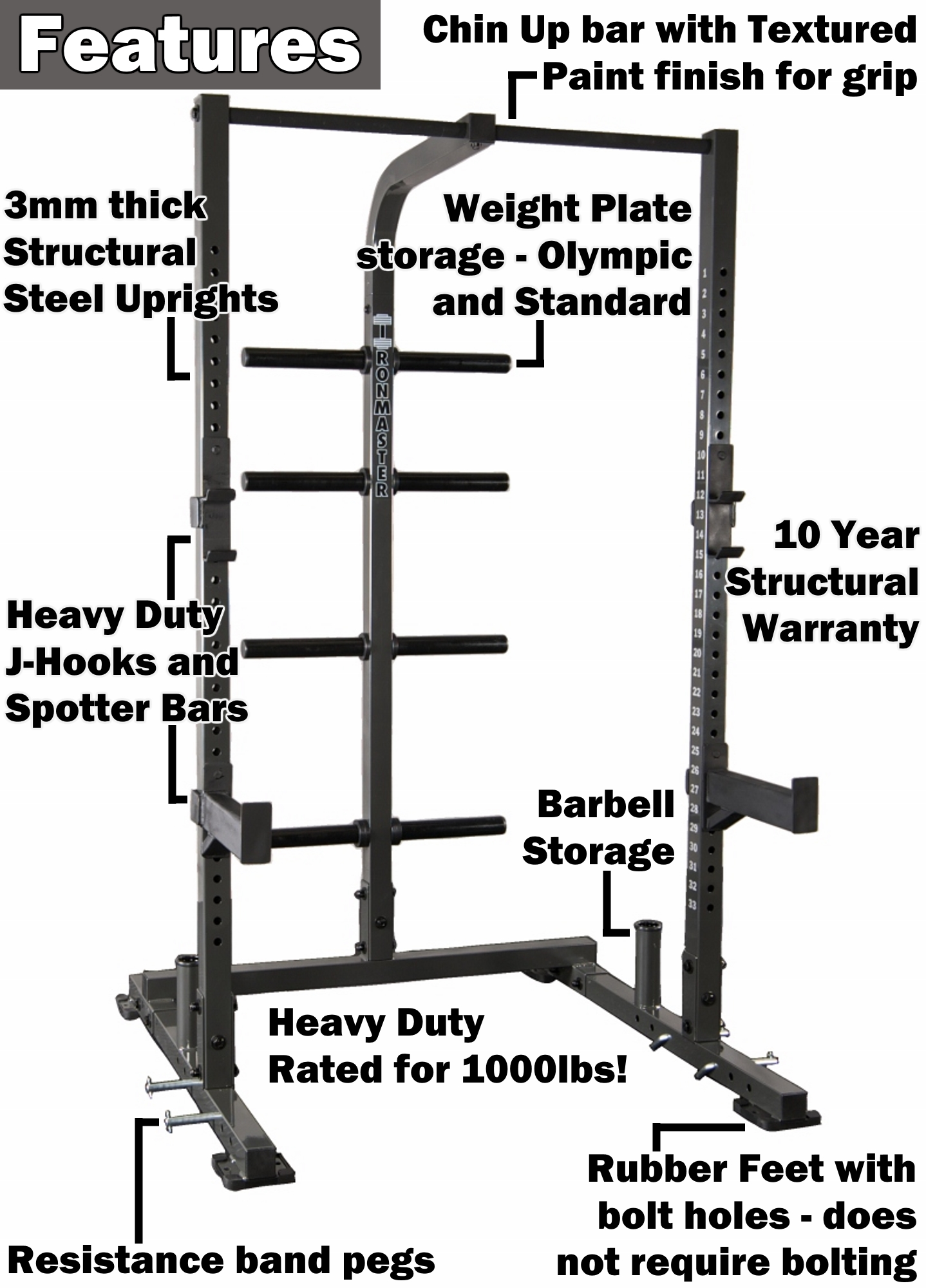 Smith machine half rack