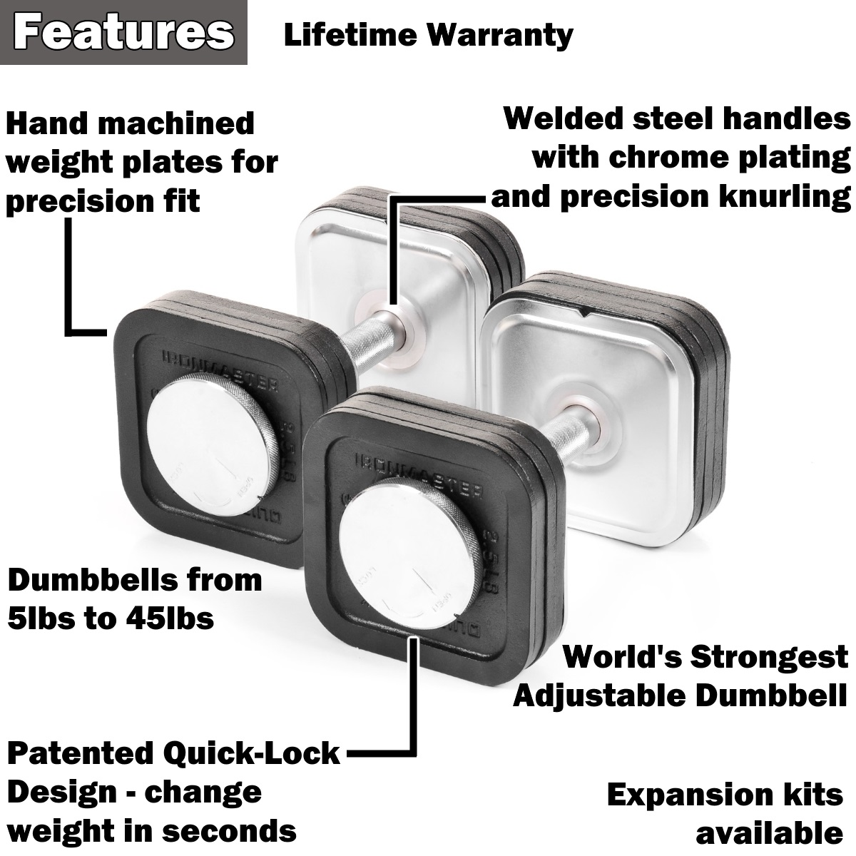 ironmaster 45lb dumbbell kit