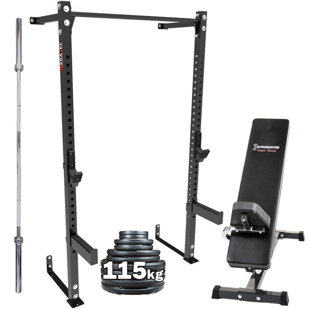 Megatec Wall Mounted Half Rack Package Barbell Weight