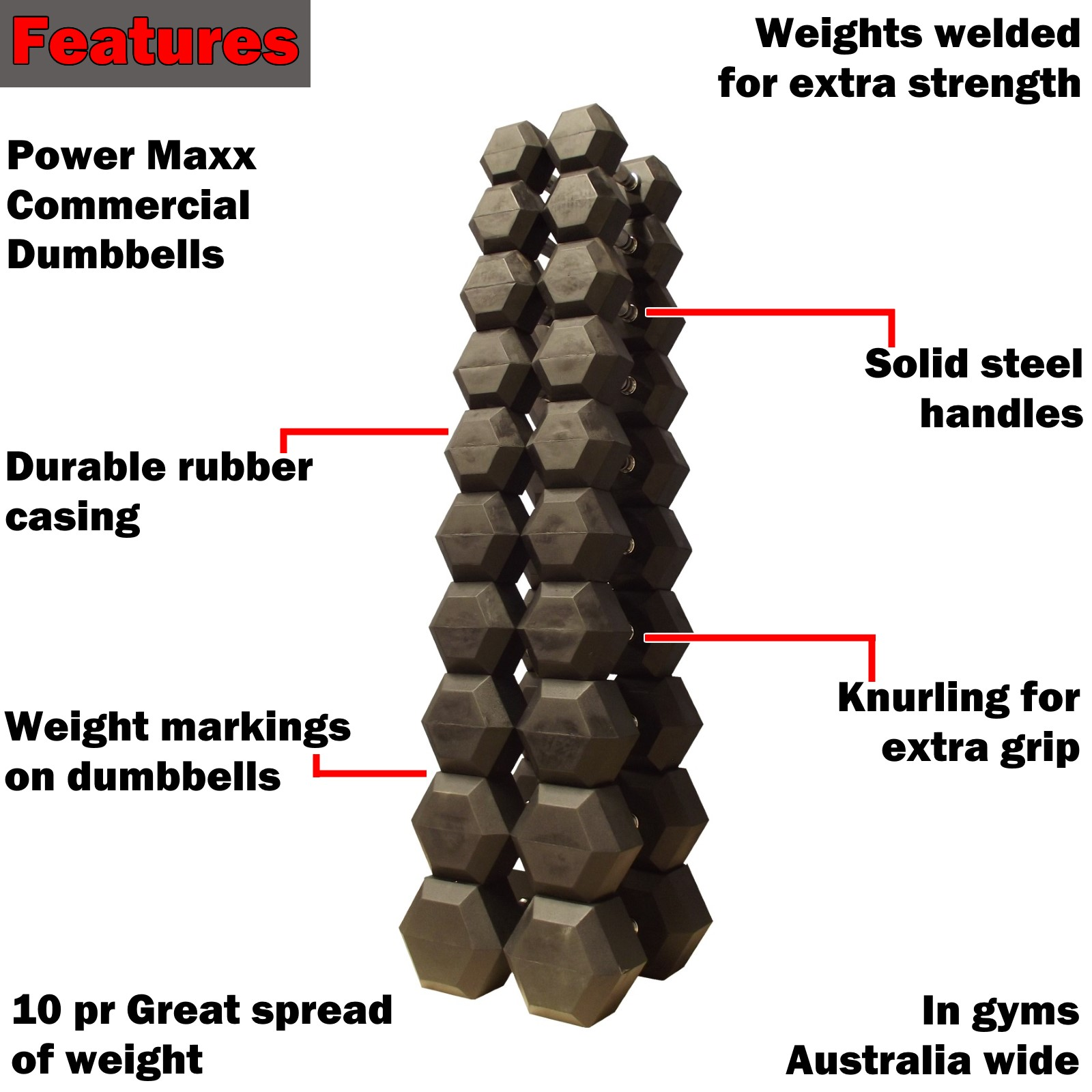 10-40kg rubber hex dumbbell set