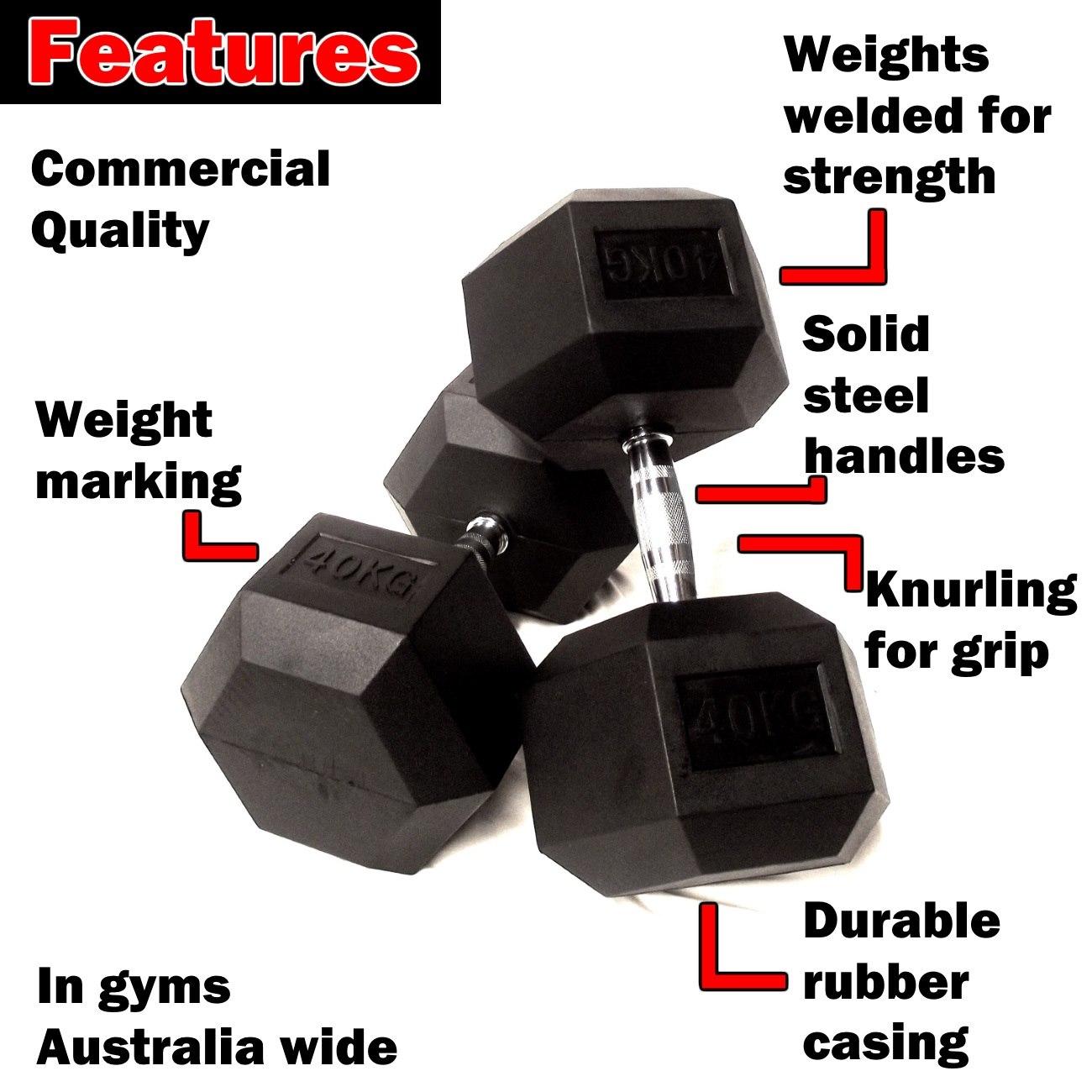 45kg rubber hex dumbbells