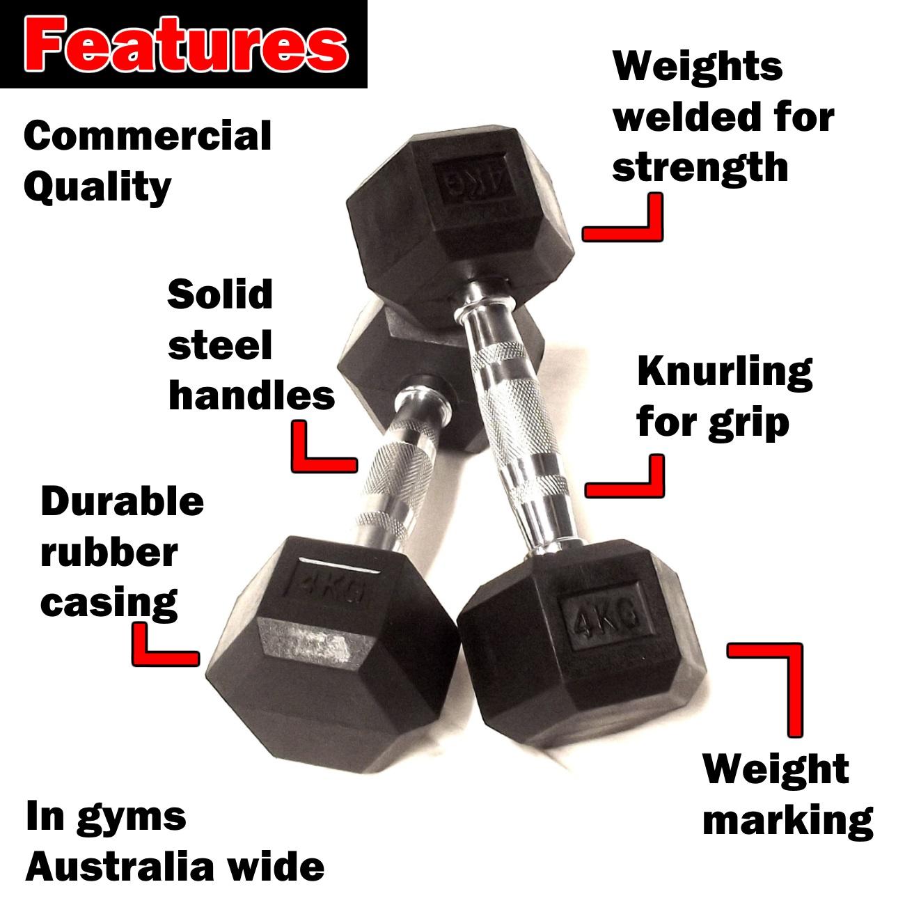 4kg rubber hex dumbbells