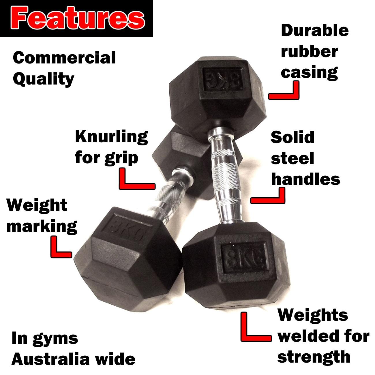 8kg rubber hex dumbbells