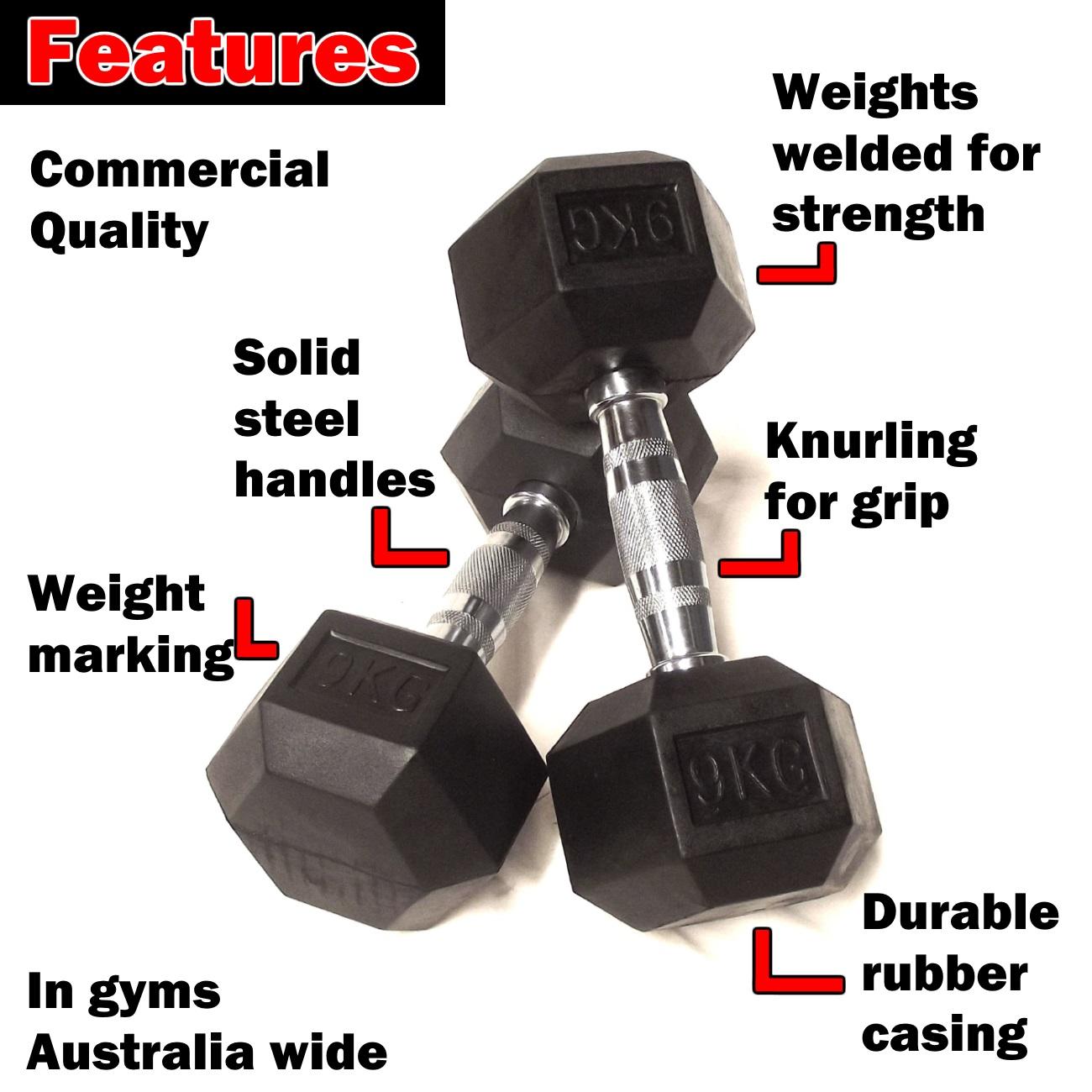 9.kg rubber hex dumbbells
