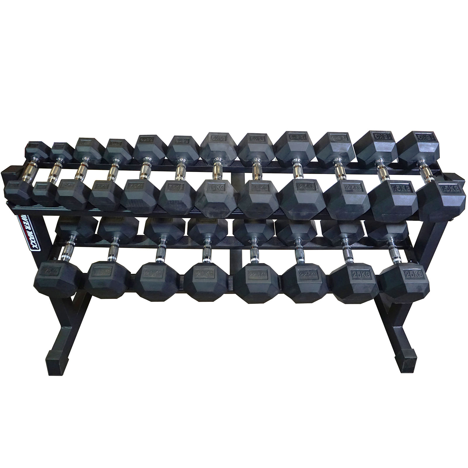 2 5kg To 25kg Rubber Hex Dumbbell Set With Rack Power
