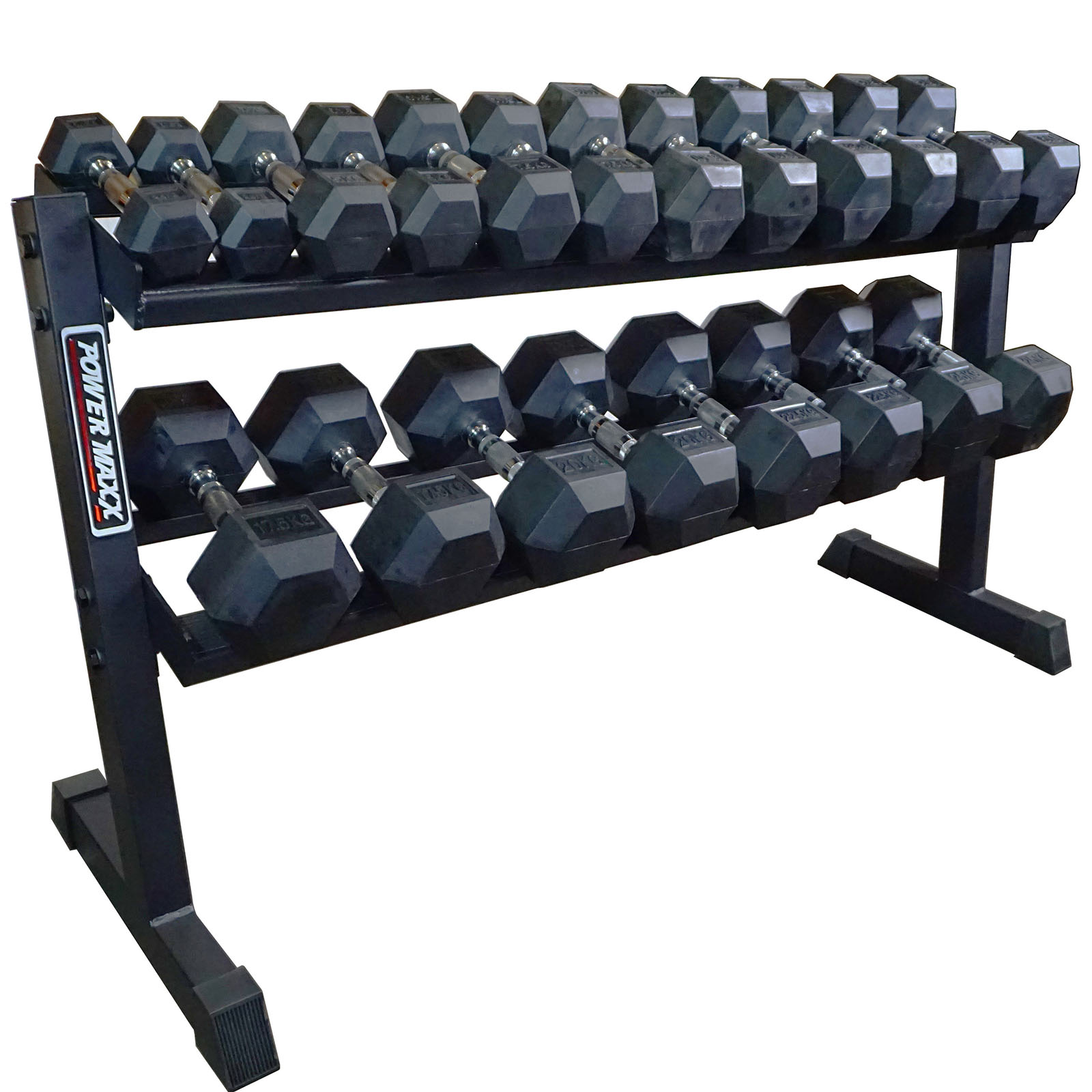 Rubber Dumbbell Set: POWER MAXX 2.5kg -25kg Rubber Hex Dumbbell Set 10 Pairs